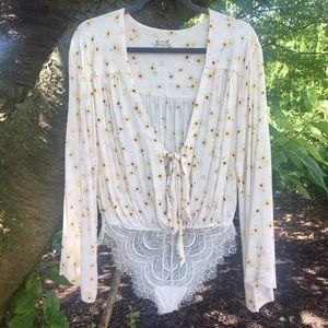 Free People Forties Feels Printed Lace Bodysuit XS
